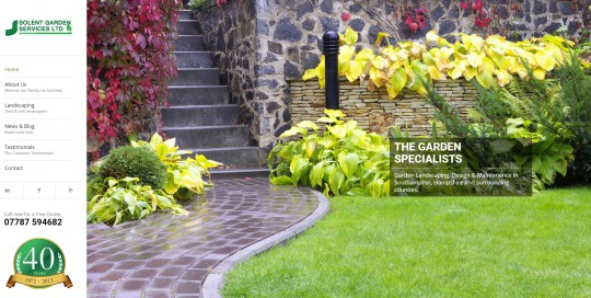 Solent Garden Services' Home Page Slider Splash