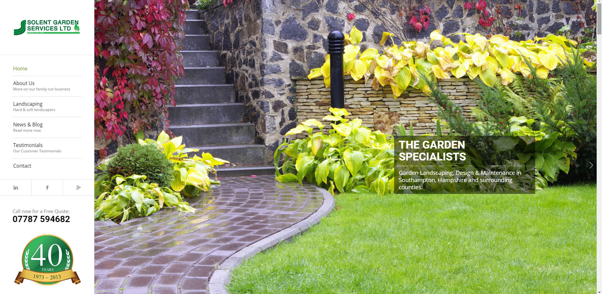 Gardening Service Website Main Page
