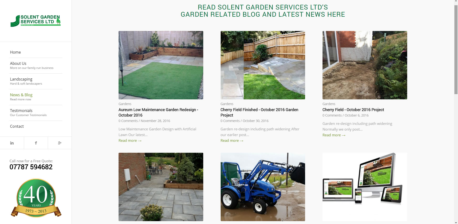 Ongoing Blog and Garden Services News Feed Page