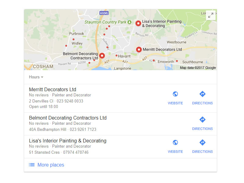 Merritt Decorators Google My Business Listing